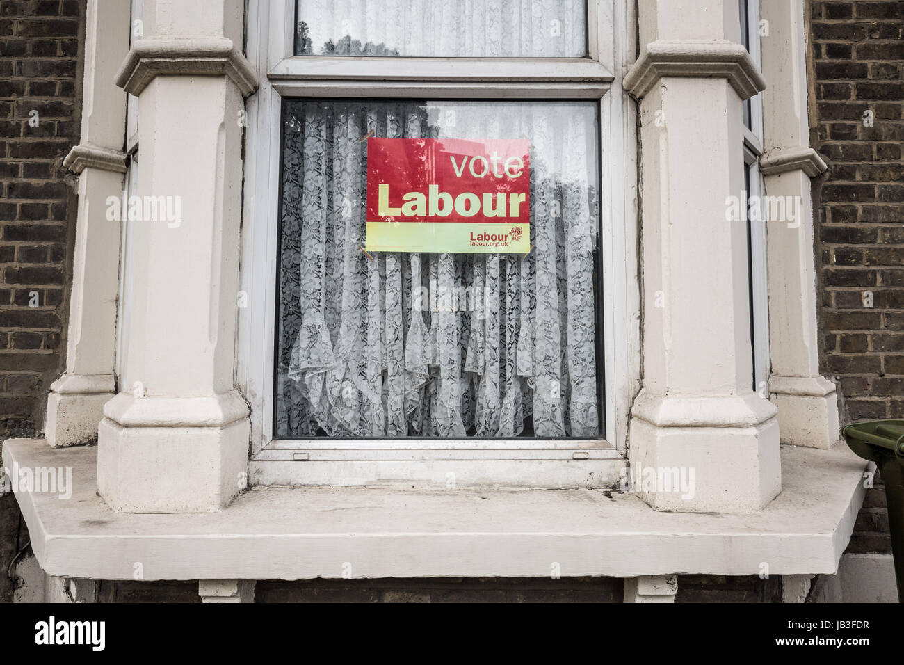 Vote Labour election placard seen in the window of a house in south east London, UK. - Stock Image