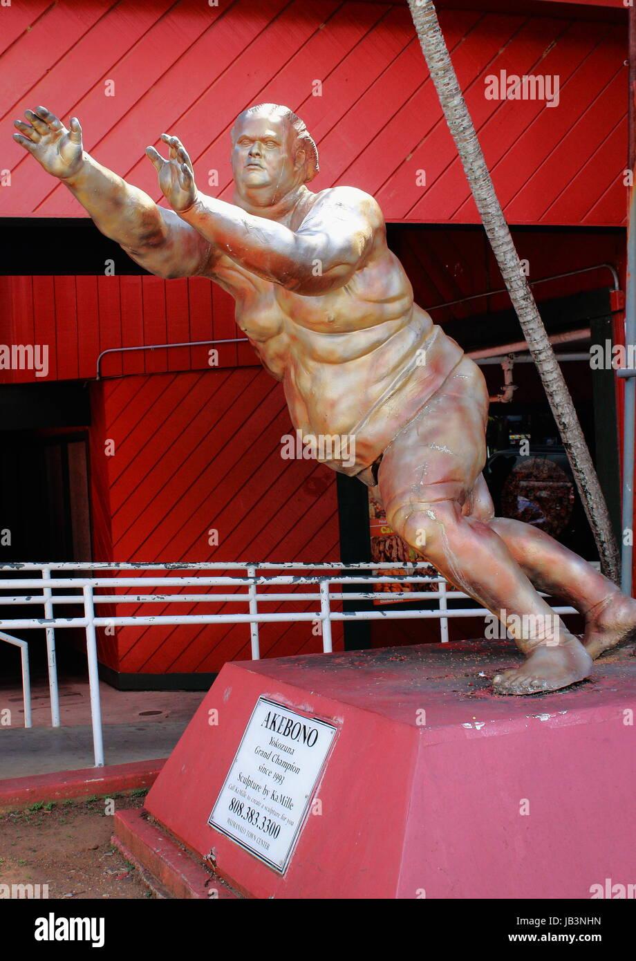Akebono - Yokozuna Grand Champion Statue - Stock Image