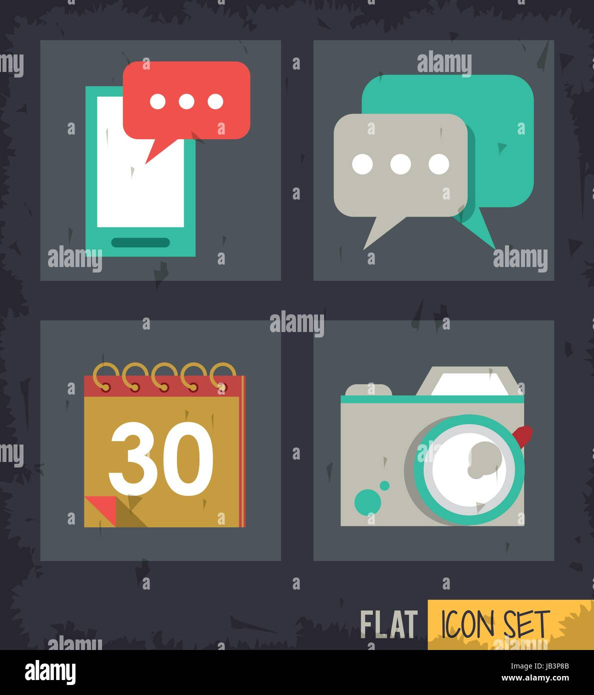 black background squares set with smartphone and calendar and speech bubble and photo camera Stock Vector