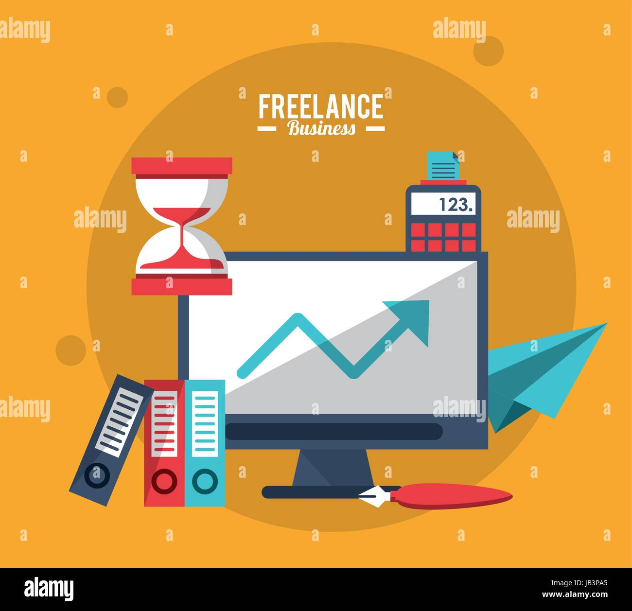 colorful poster freelance business with computer clock calculator Stock Vector