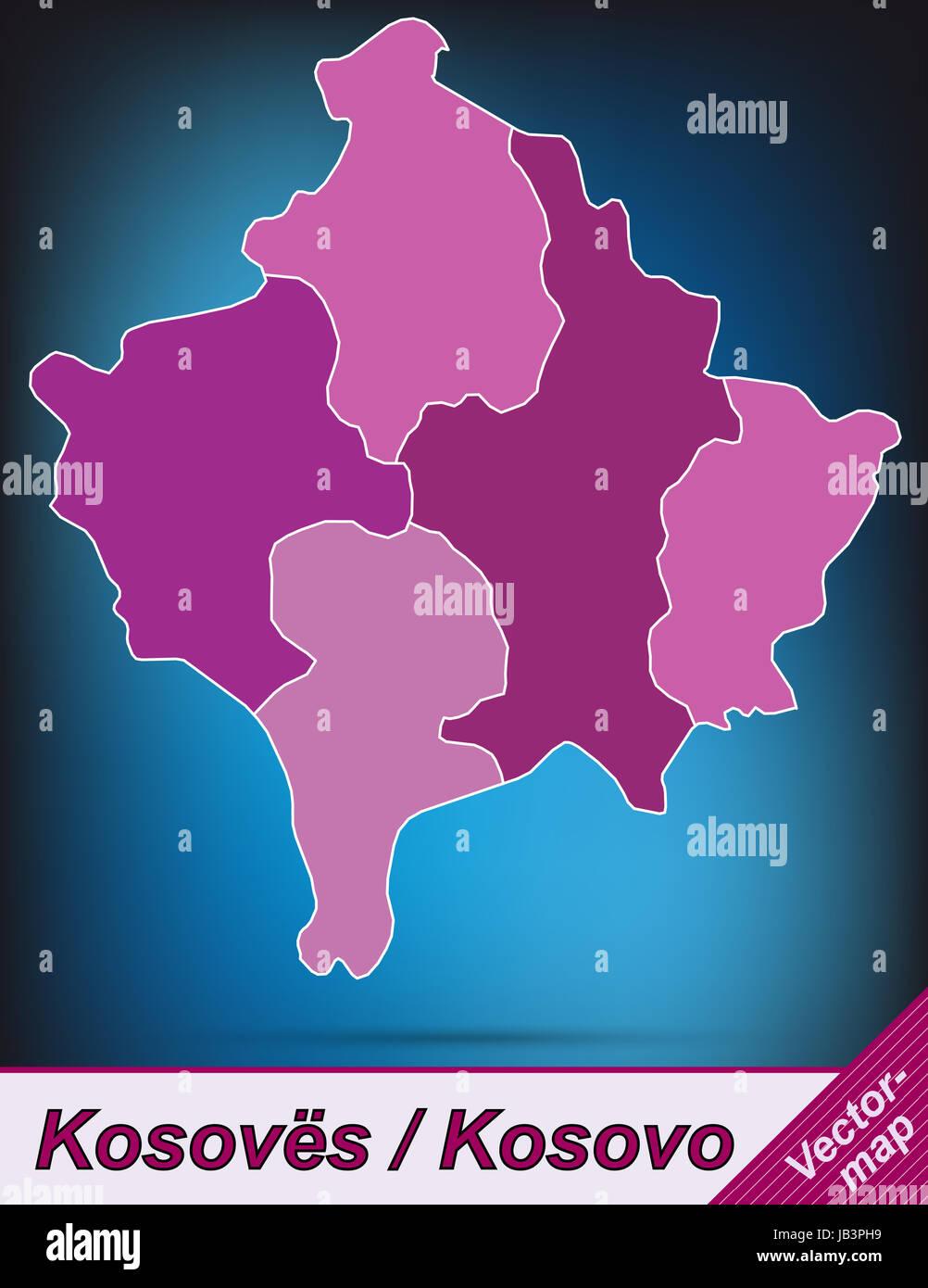 Kosovo Karte Europa.Kosovo In Europa Als Grenzkarte Mit Grenzen In Violett