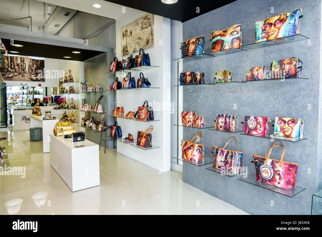 Miami Beach Florida Lincoln Road pedestrian mall store shopping Bagghy Miami  designer handbags handbag store display 23ef10d9f3b6a