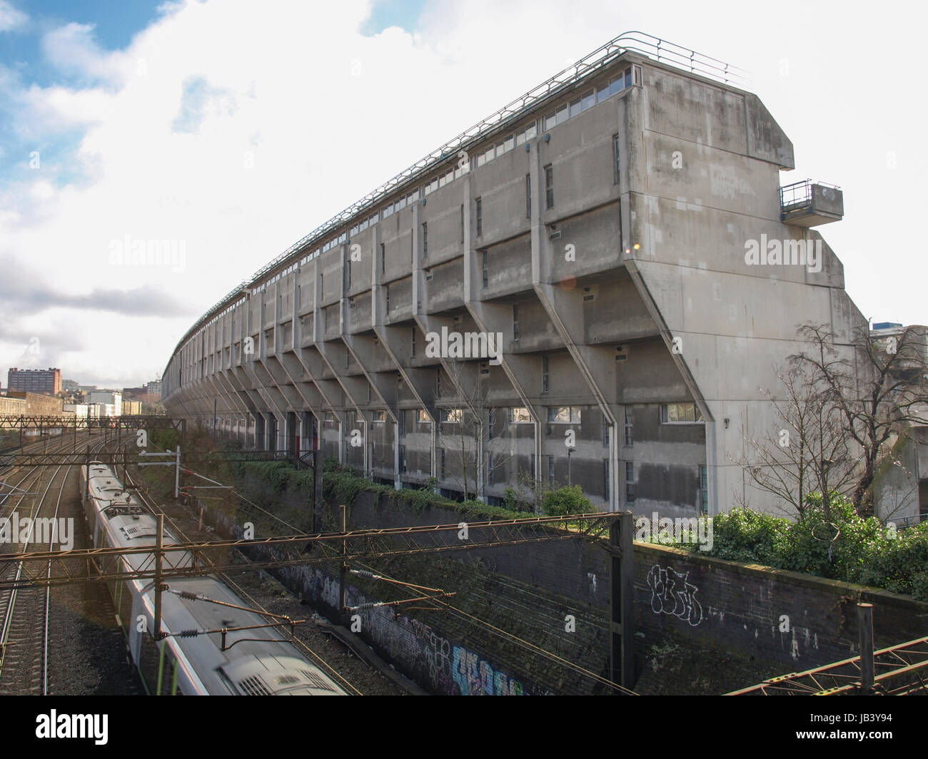 LONDON, ENGLAND, UK - MARCH 04, 2009: The Alexandra Road estate designed in 1968 by Neave Brown applies the terraced Stock Photo