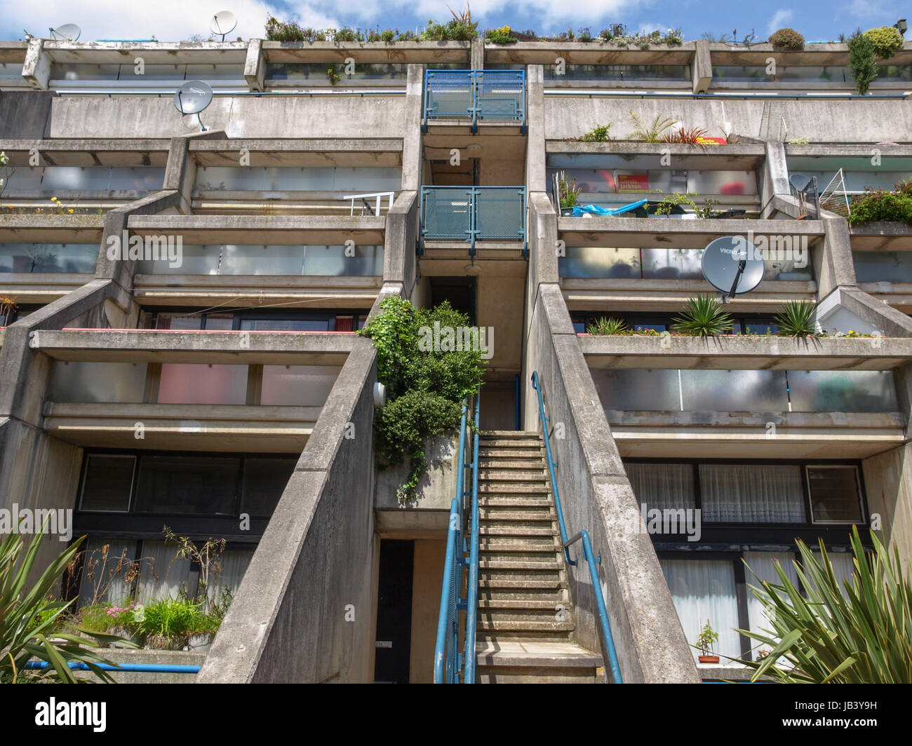 LONDON, ENGLAND, UK - MAY 06, 2010: The Alexandra Road estate designed in 1968 by Neave Brown applies the terraced Stock Photo
