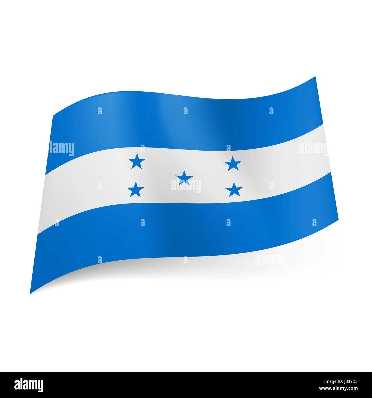 National flag of Honduras: white stripe with five stars between two blue bands Stock Photo