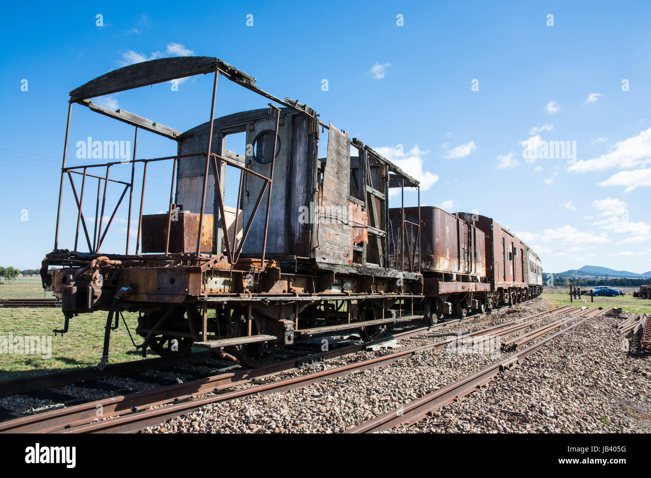 Decrepit old railroad carriages on a siding at Werris Creek NSW Australia. - Stock Image