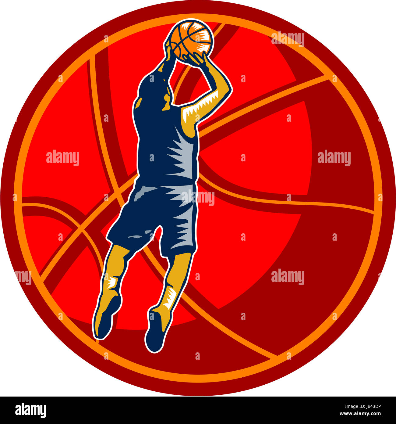 Illustration of a basketball player jump shot jumper shooting jumping set inside giant ball on isolated white background. - Stock Image
