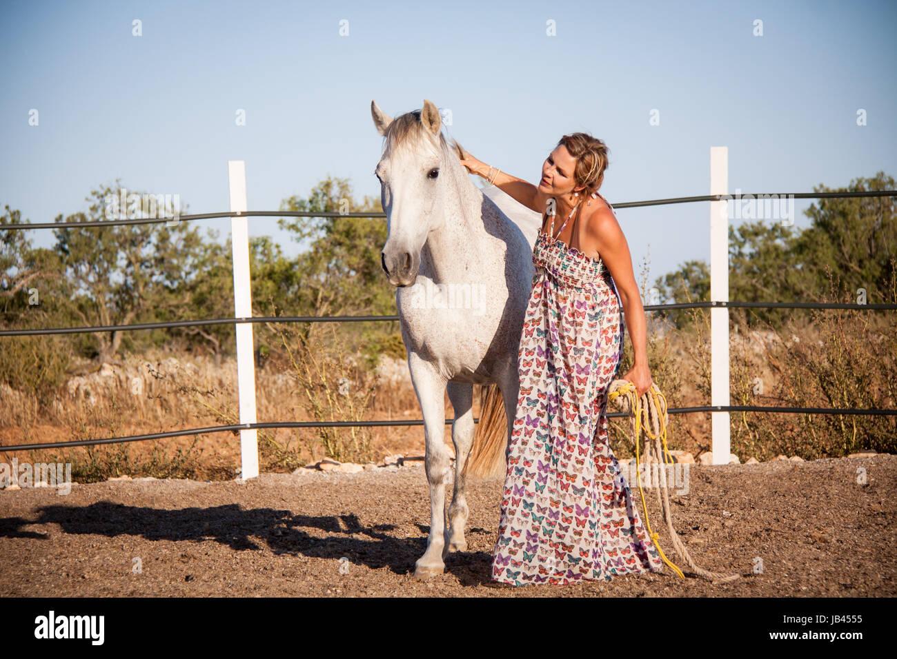 junge weibliche reiterin trainiert ihr pferd im freien im sommer pferderanch - Stock Image