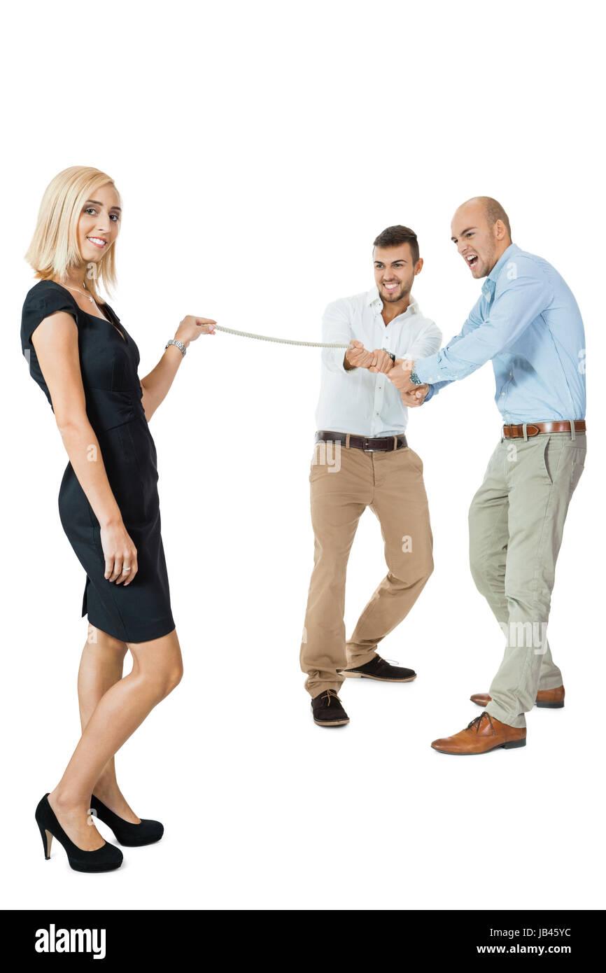 junge erfolgreiche geschäftsfrau power stärke mit männlichen konkurrenten rivalen job isoliert Stock Photo