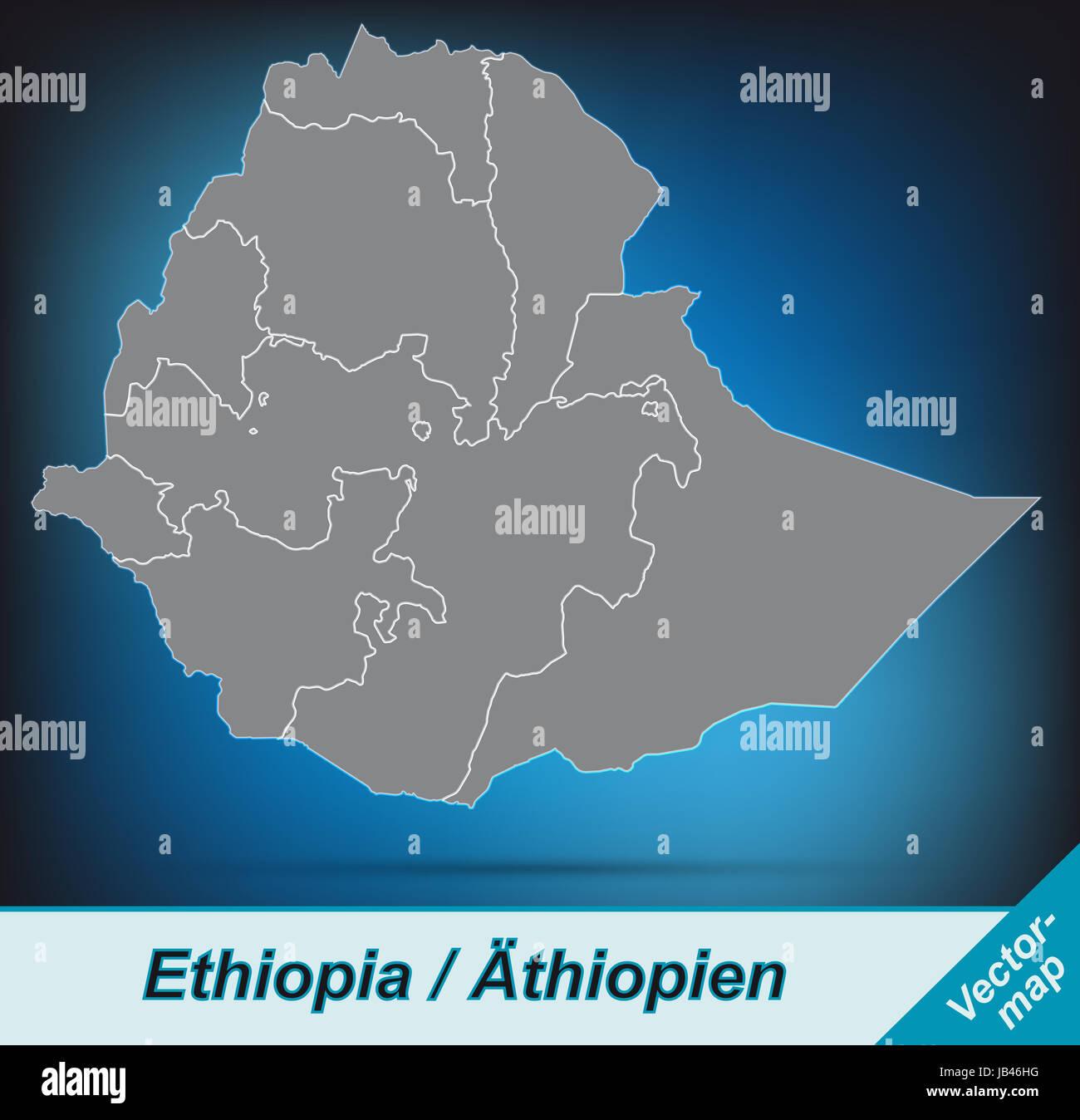 Äthiopien in  Afrika als Grenzkarte mit Grenzen  Durch die ansprechende Gestaltung fügt sich die Karte - Stock Image