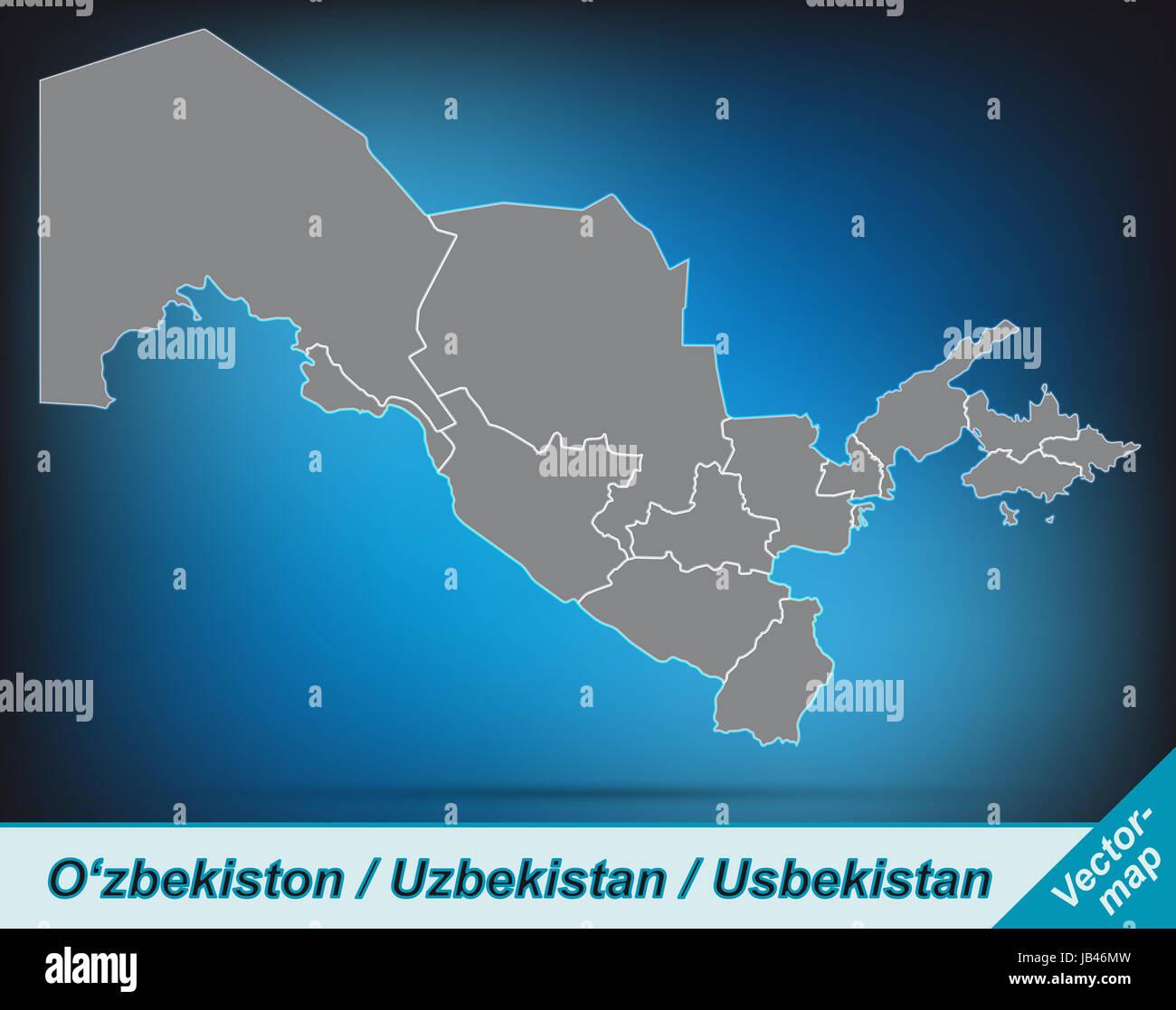 Usbekistan in Asien als Grenzkarte mit Grenzen  Durch die ansprechende Gestaltung fügt sich die Karte perfekt in Stock Photo
