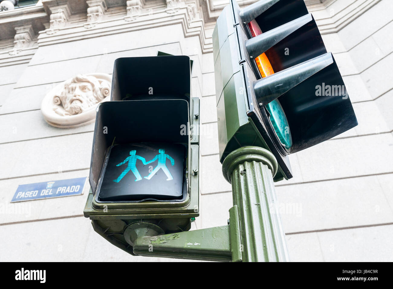 Semáforos lgtbi instalados en Madrid con motivo del día del orgullo gay. - Stock Image