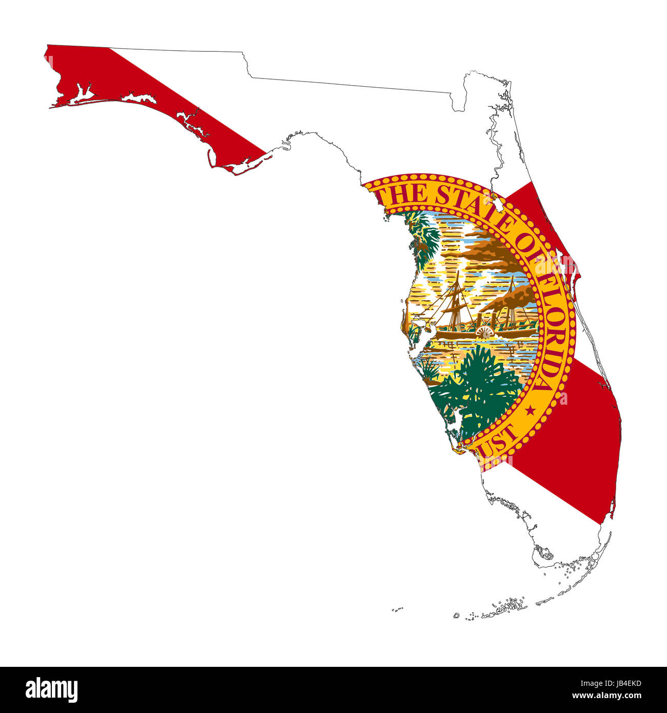 Usa Map Florida State.State Of Florida Flag Map Isolated On A White Background U S A