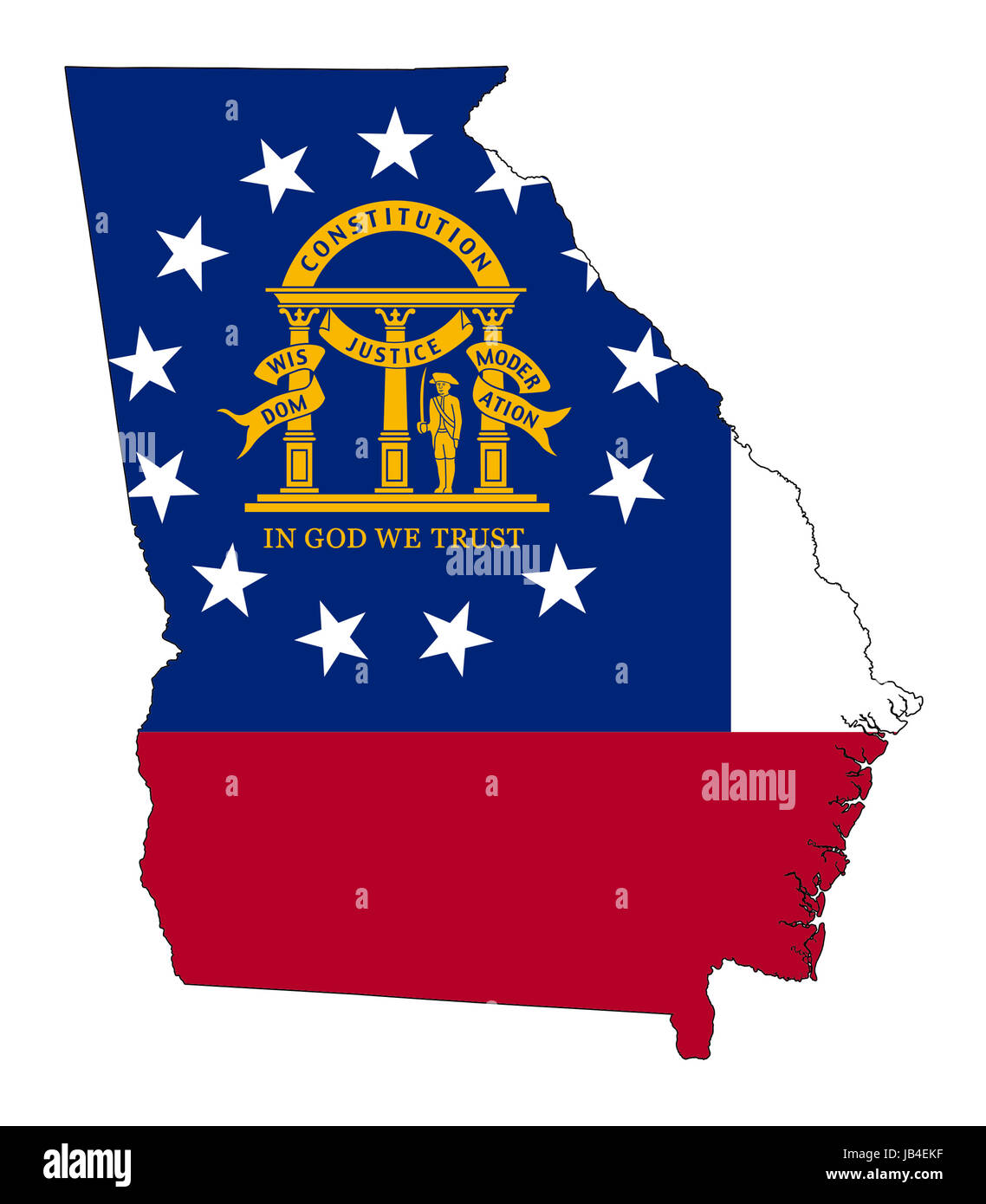 State Of Georgia Flag Map Isolated On A White Background U S A