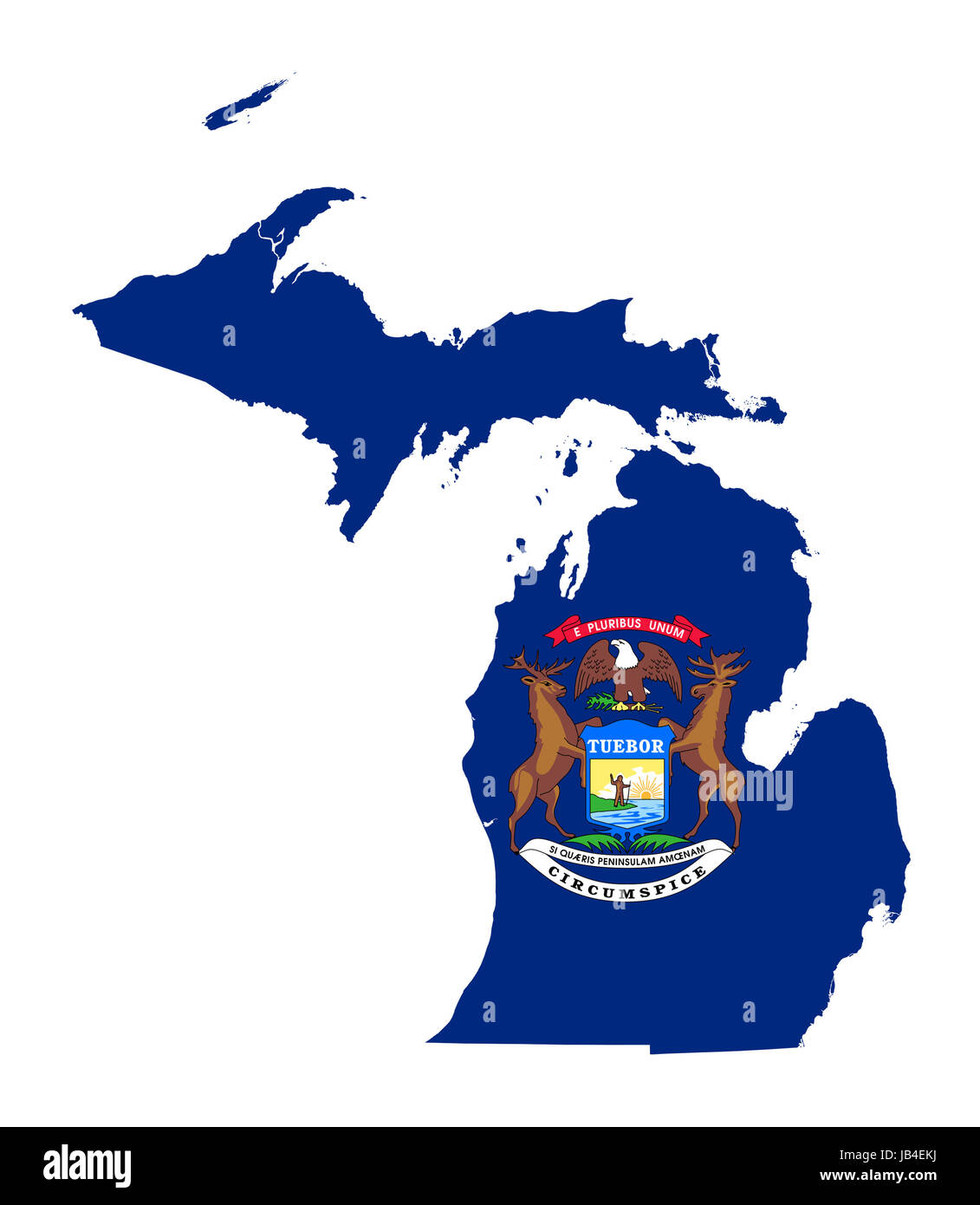 State Of Michigan Flag Map Isolated On A White Background U S A