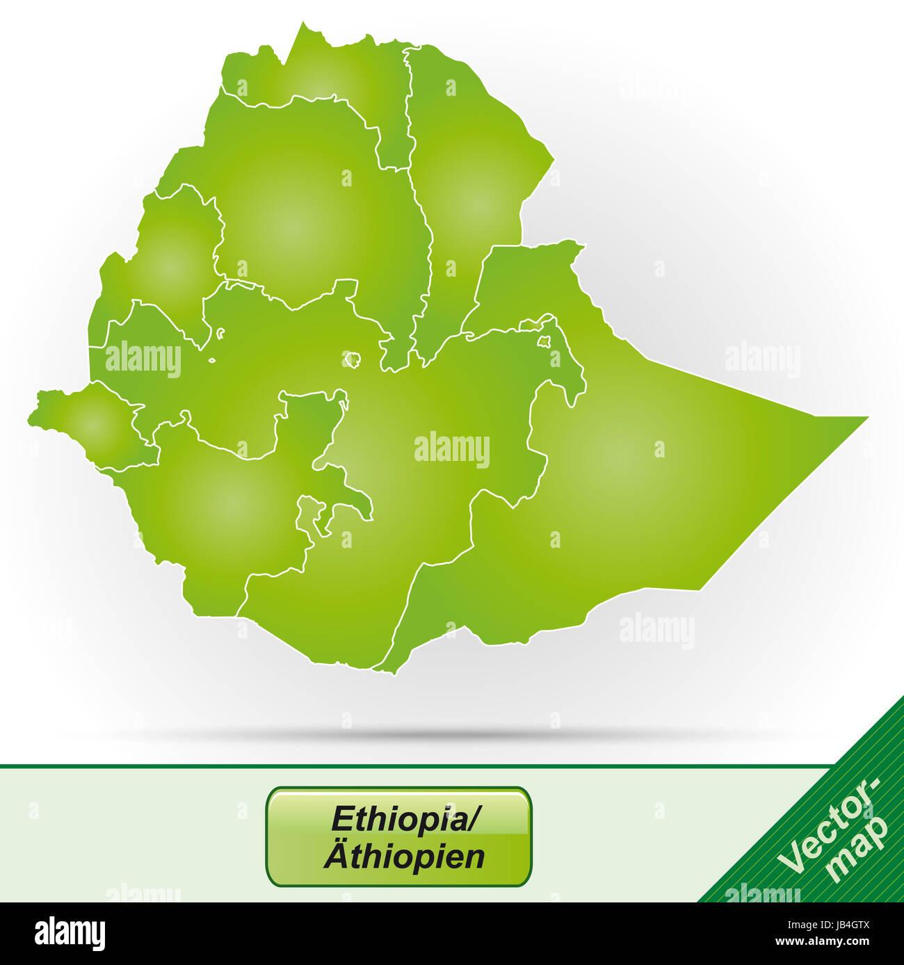 Äthiopien in  Afrika als Grenzkarte mit Grenzen in Grün. Durch die ansprechende Gestaltung fügt sich - Stock Image