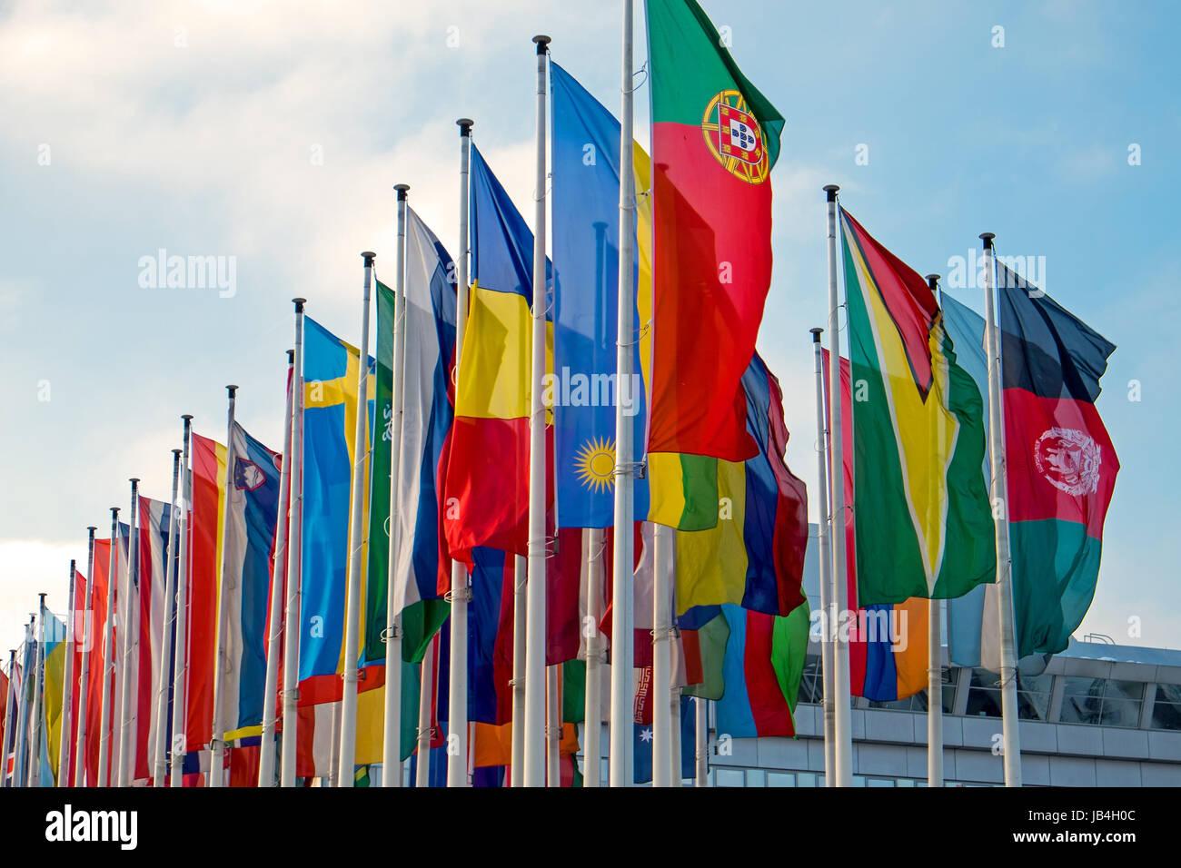 various international flags Stock Photo