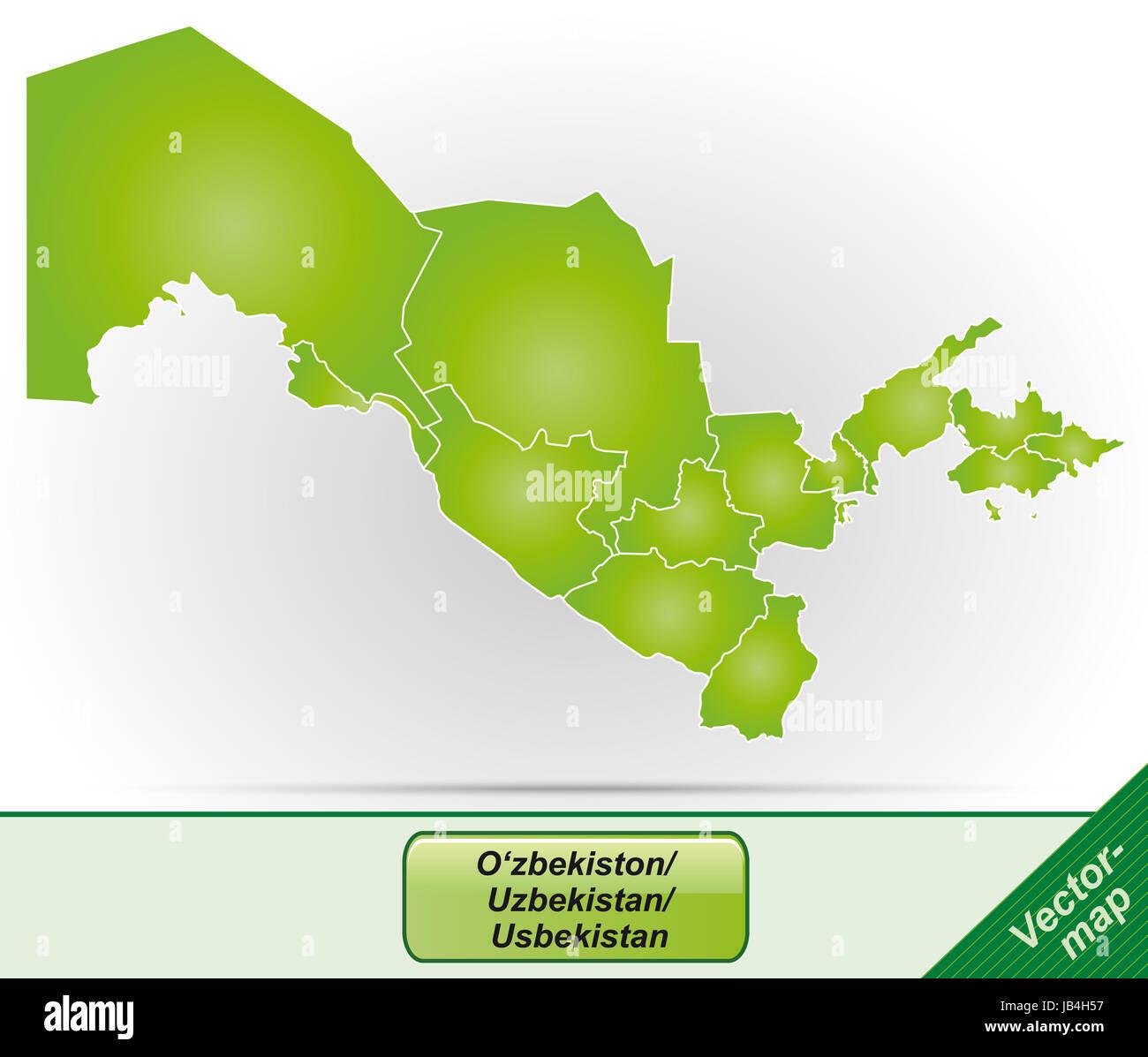 Usbekistan in Asien als Grenzkarte mit Grenzen in Grün. Durch die ansprechende Gestaltung fügt sich die - Stock Image