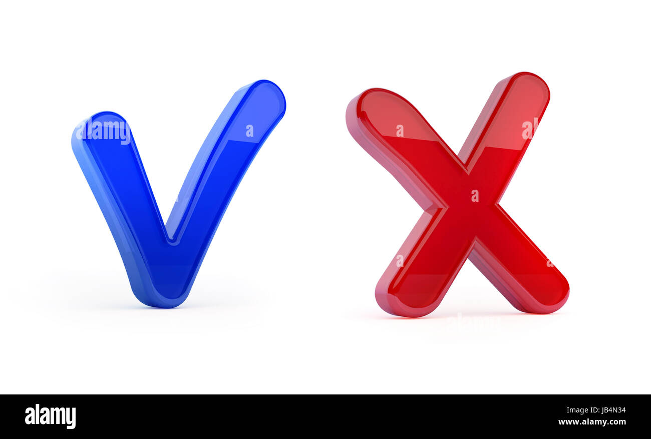 Correct and wrong checkbox symbols isolated with clipping path on white - Stock Image