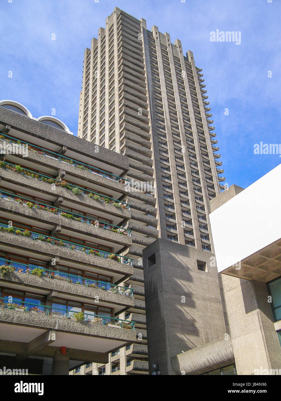 LONDON, ENGLAND, UK - MARCH 07, 2008: The Barbican Complex built in the sixties and seventies is a Grade II listed Stock Photo