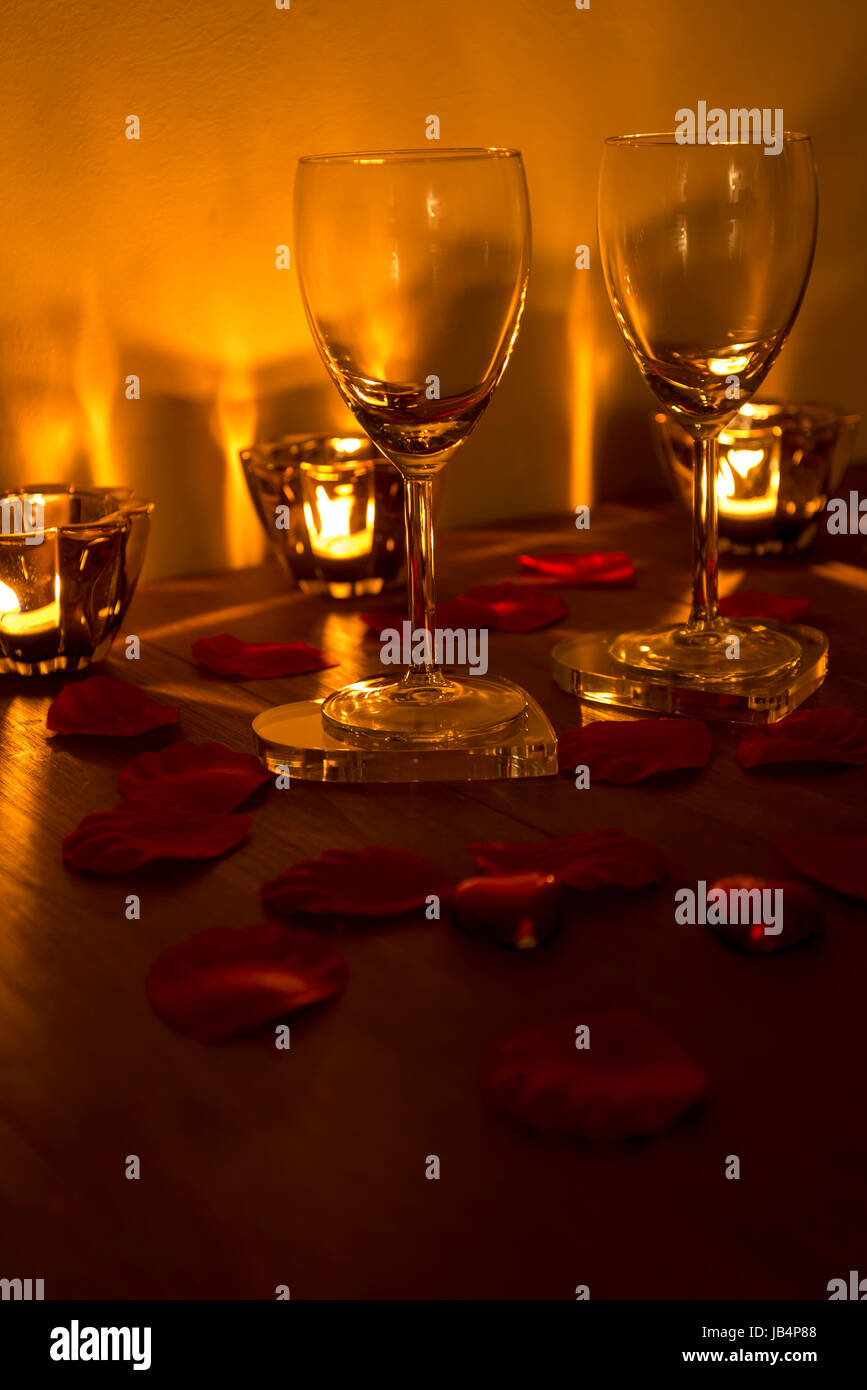 Table Decorated For Valentine S Day With Two Wine Glasses Stock