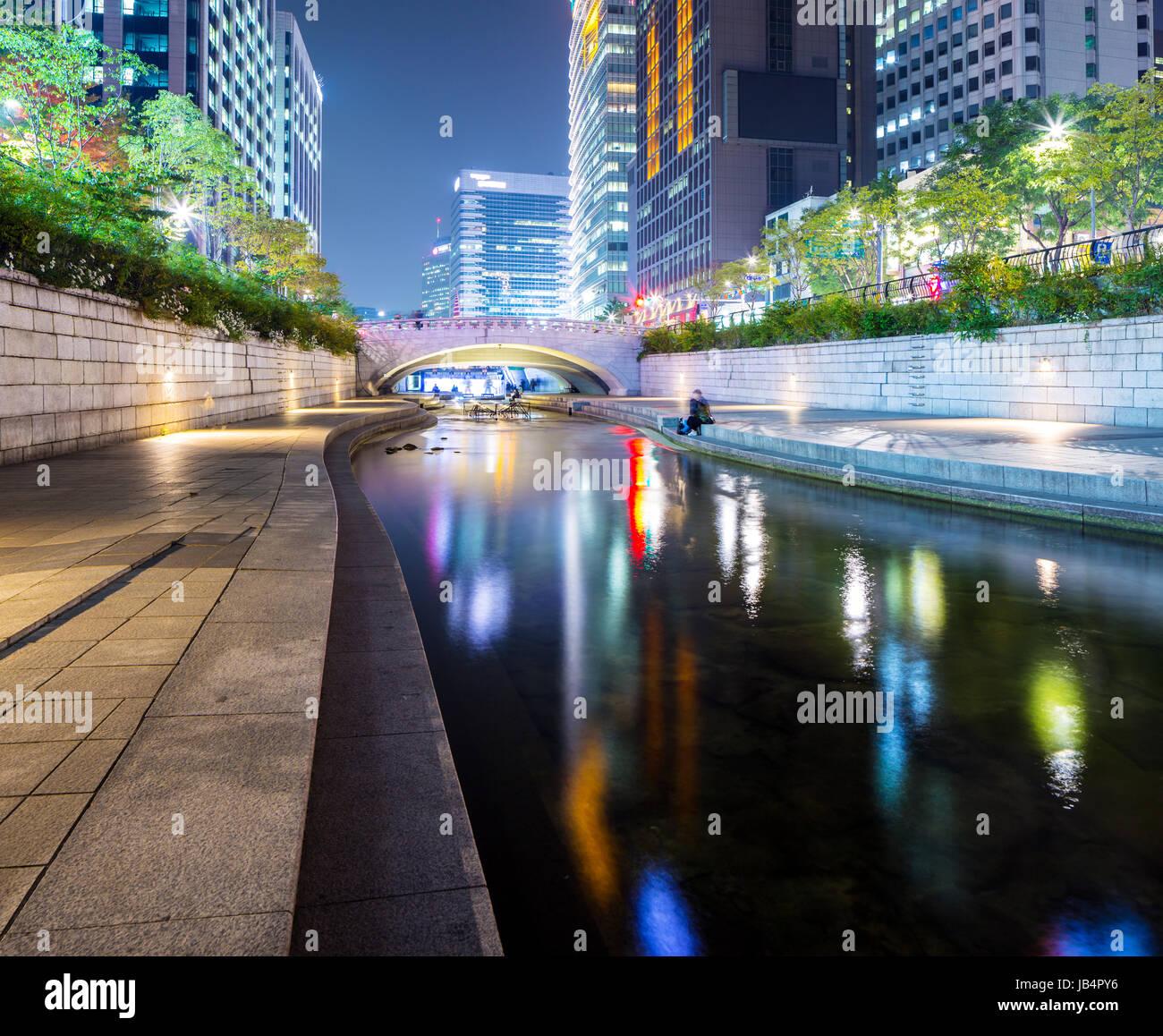 South Korea at Cheonggyecheon Stream - Stock Image