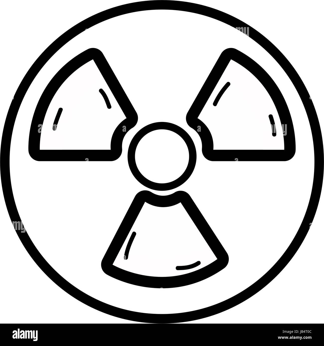 line radiation symbol to dangerous and ecology contamination - Stock Image