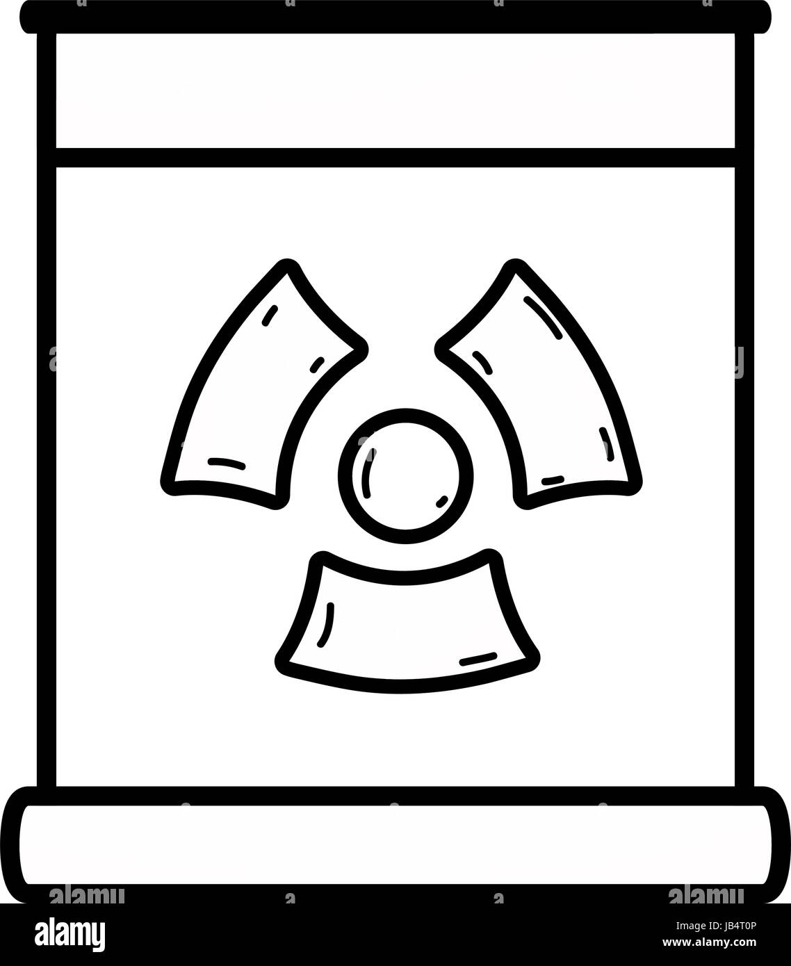 line poster with radiation symbol of danger - Stock Image