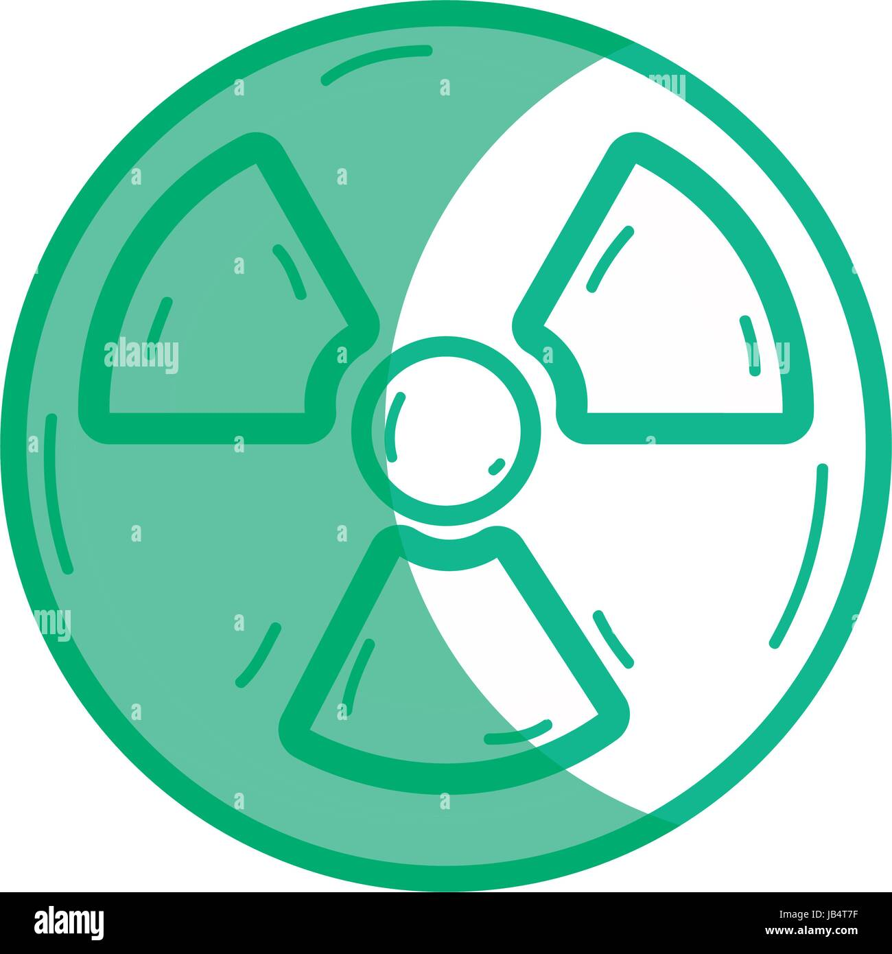 silhouette radiation symbol to dangerous and ecology contamination - Stock Image