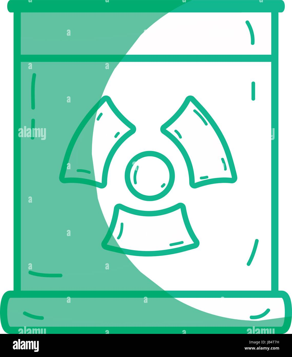 silhouette poster with radiation symbol of danger - Stock Image