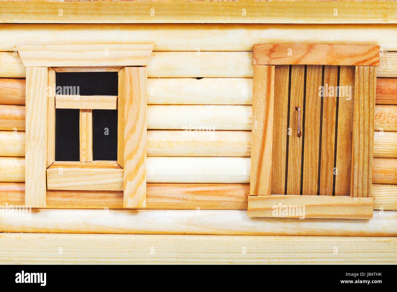 Door And Window Of Model Of Simple Village Wooden Log House