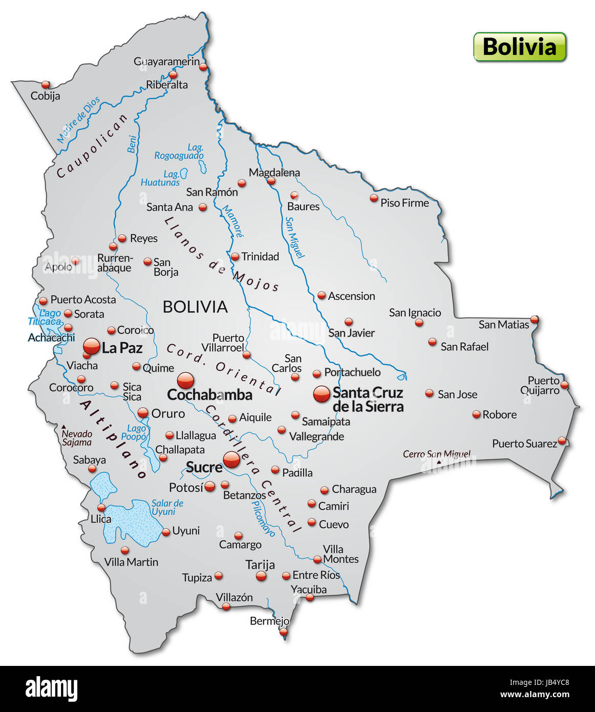 Die Karte ist modern gestaltet und enthält alle wichtigen Topographischen Informationen.  Die Karte kann sofort - Stock Image