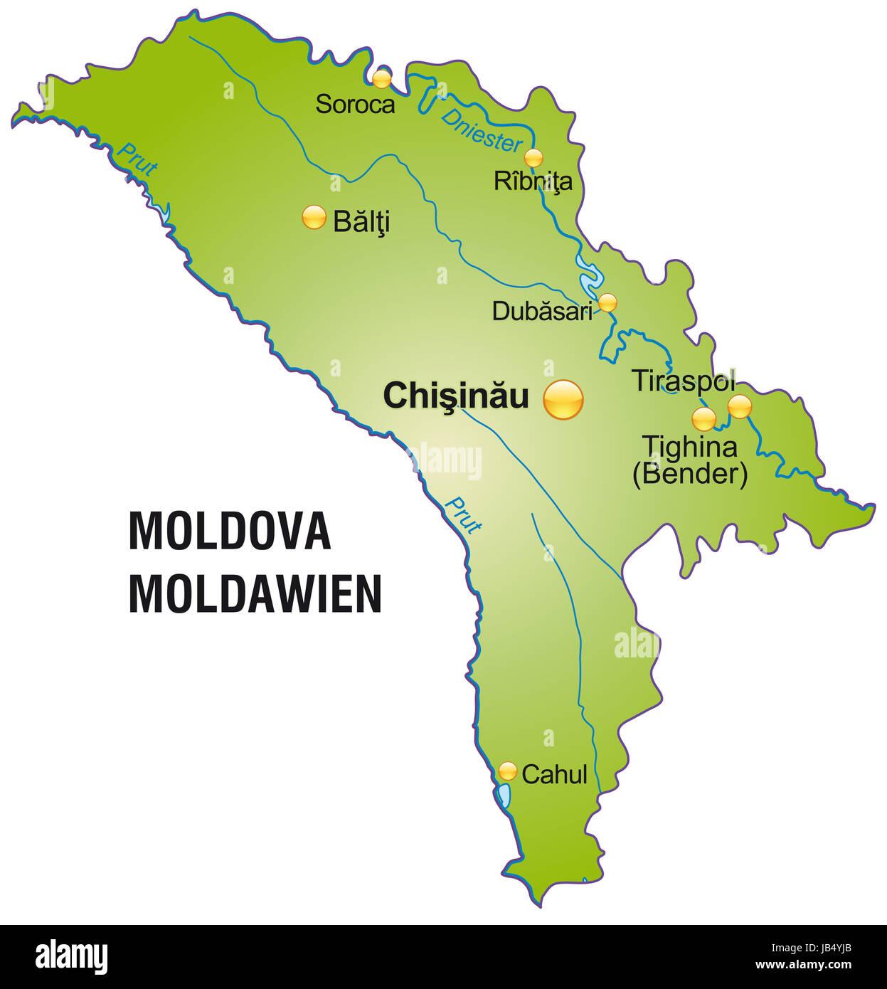 Die Karte ist modern gestaltet und enthält alle wichtigen Topographischen Informationen.  Die Karte kann sofort Stock Photo