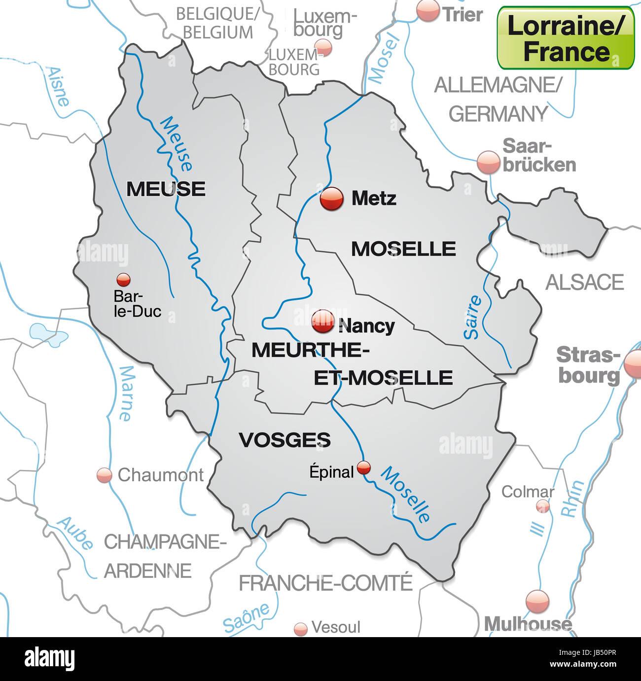 Lothringen Karte.Lothringen In Frankreich Als Umgebungskarte Mit Grenzen In