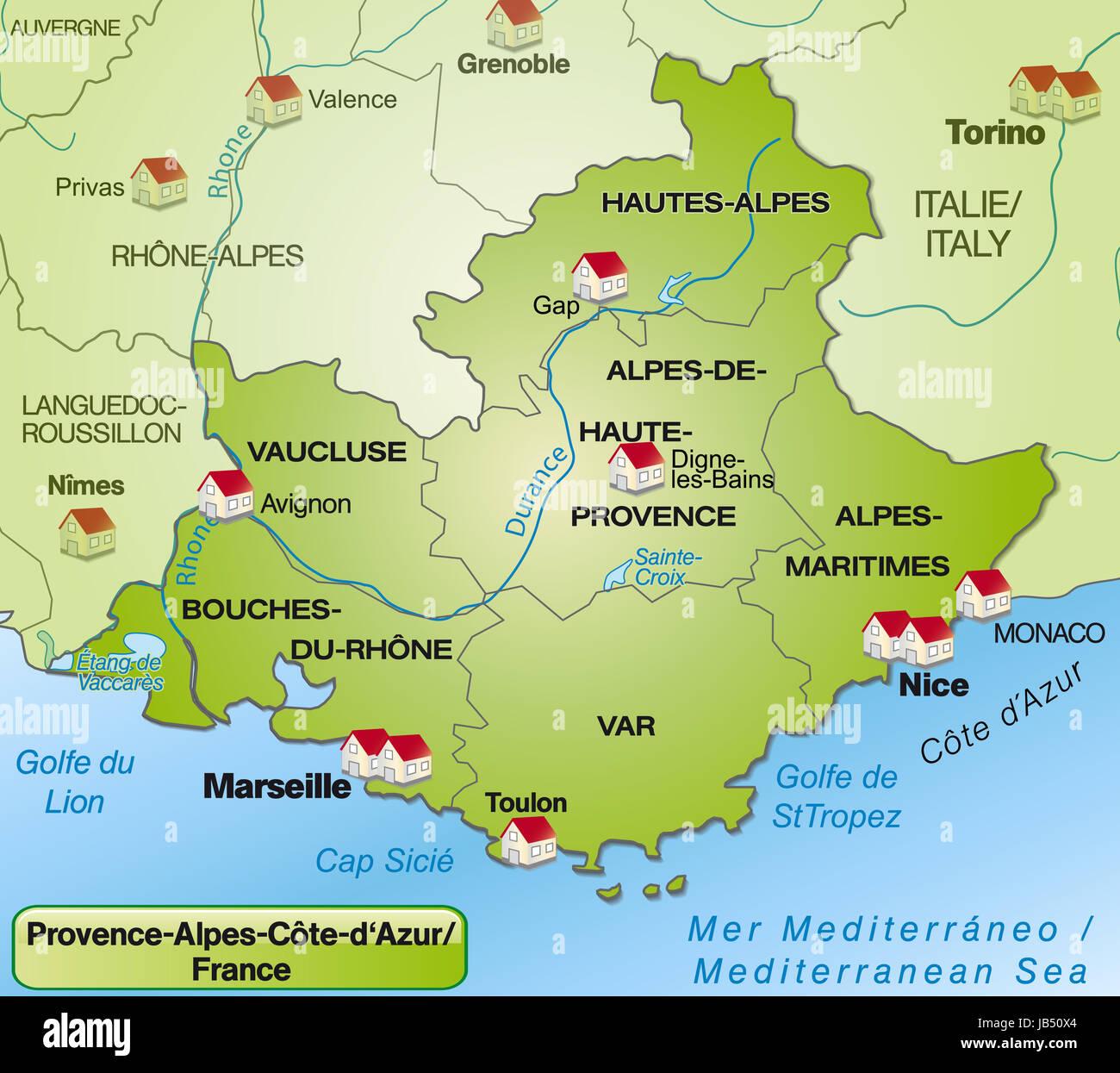 frankreich landkarte provence Provence Alpes Côte d´Azur in Frankreich als Umgebungskarte mit