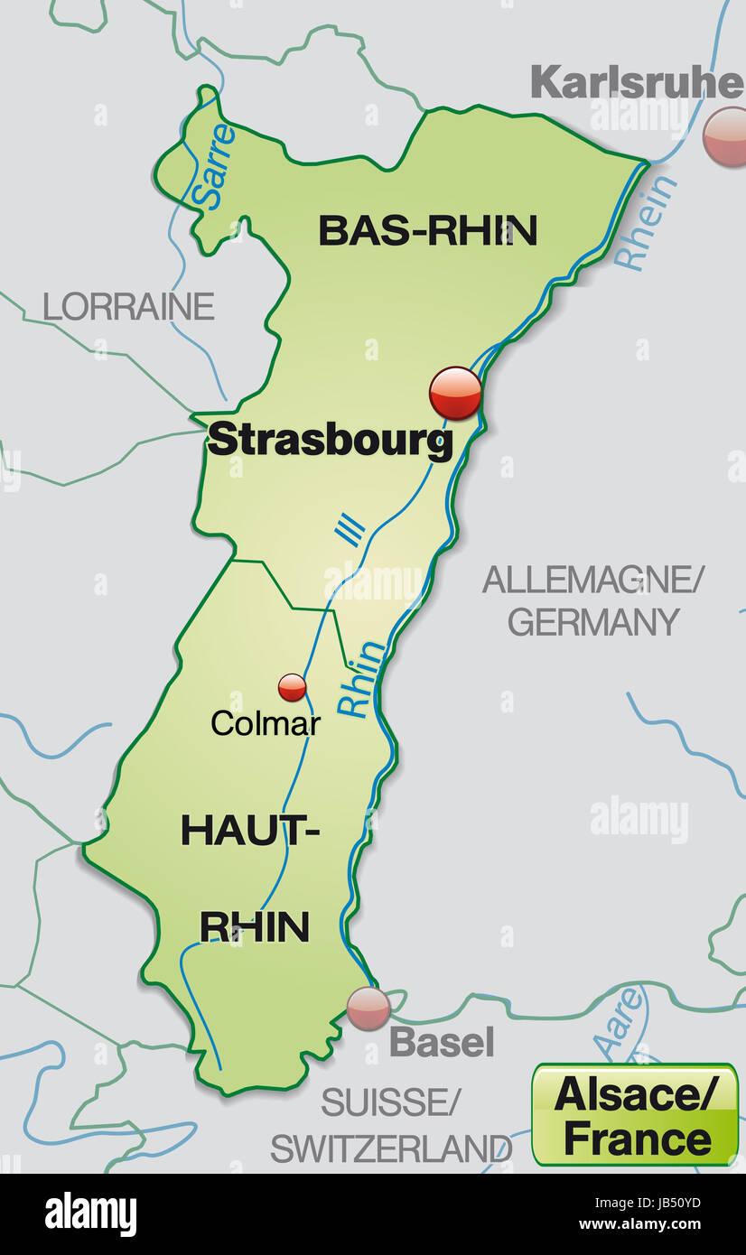 Elsass Karte Frankreich.Elsass In Frankreich Als Umgebungskarte Mit Nachbarlandern