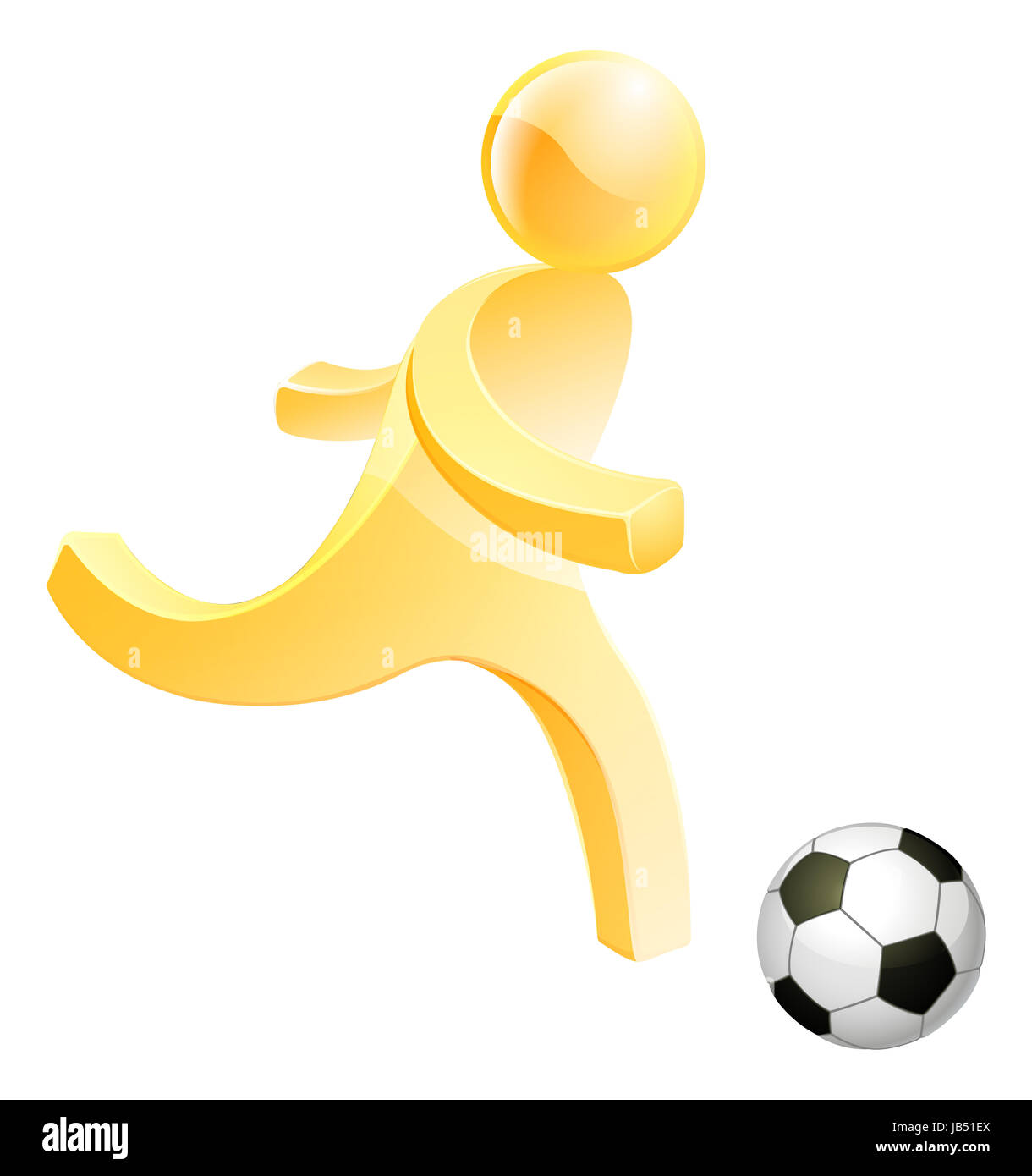 Soccer football person, a stylised person about to kick a soccer or foot ball - Stock Image