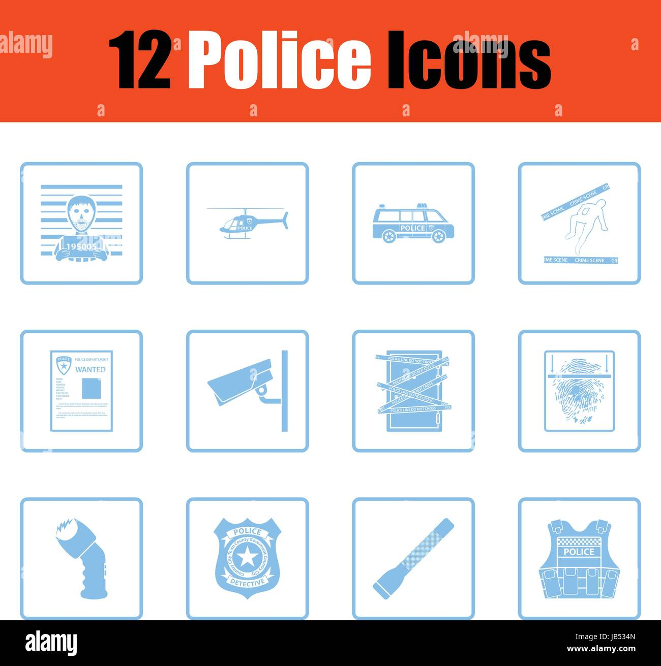 Set of police icons. Blue frame design. Vector illustration Stock ...