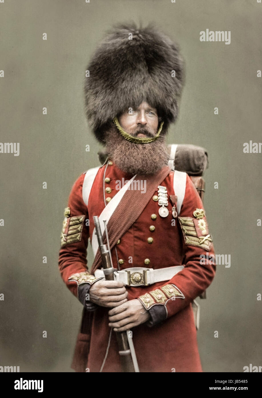 Colour Sergeant William McGregor of the Scots Fusiliers Guards photographed on his return from the Crimean War in - Stock Image