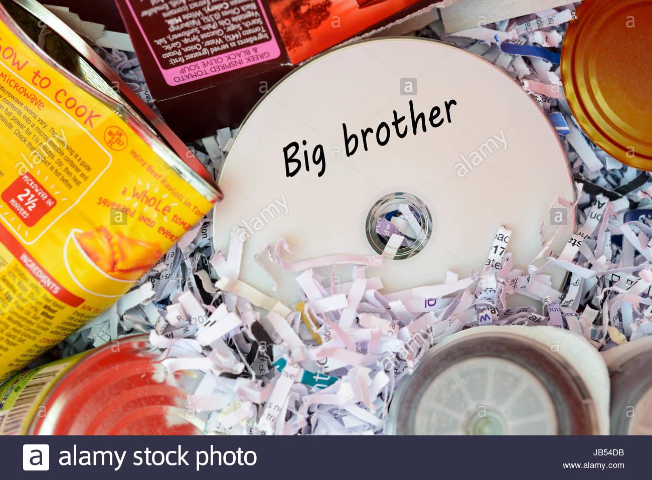 Big brother, data disc thrown in Bin, Dorset, England. - Stock Image