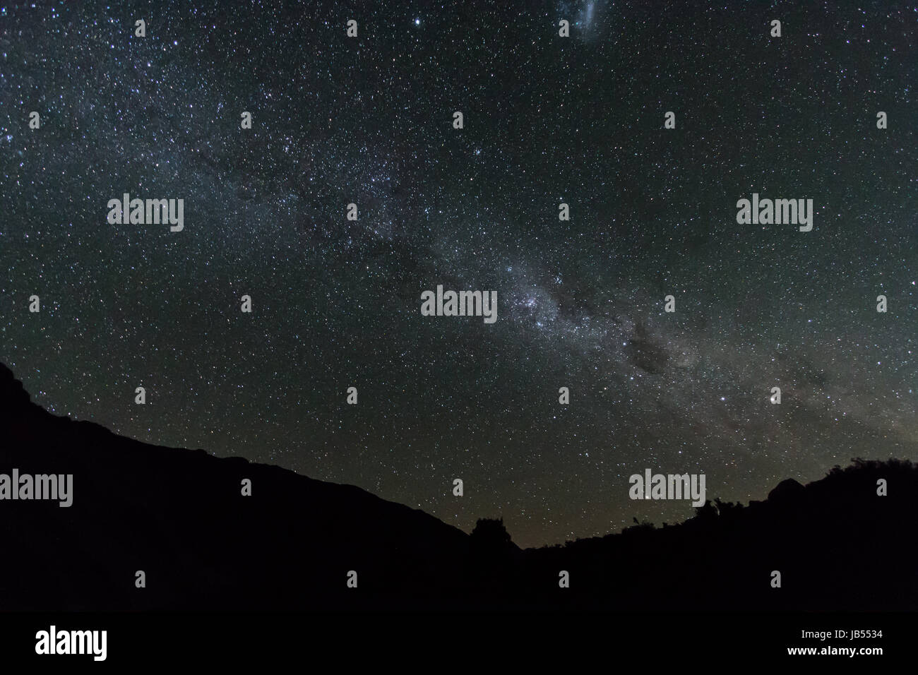 Astrophotography of the Milky Way taken in the International Dark Sky Reserve in Mount Cook National Park, New Zealand - Stock Image