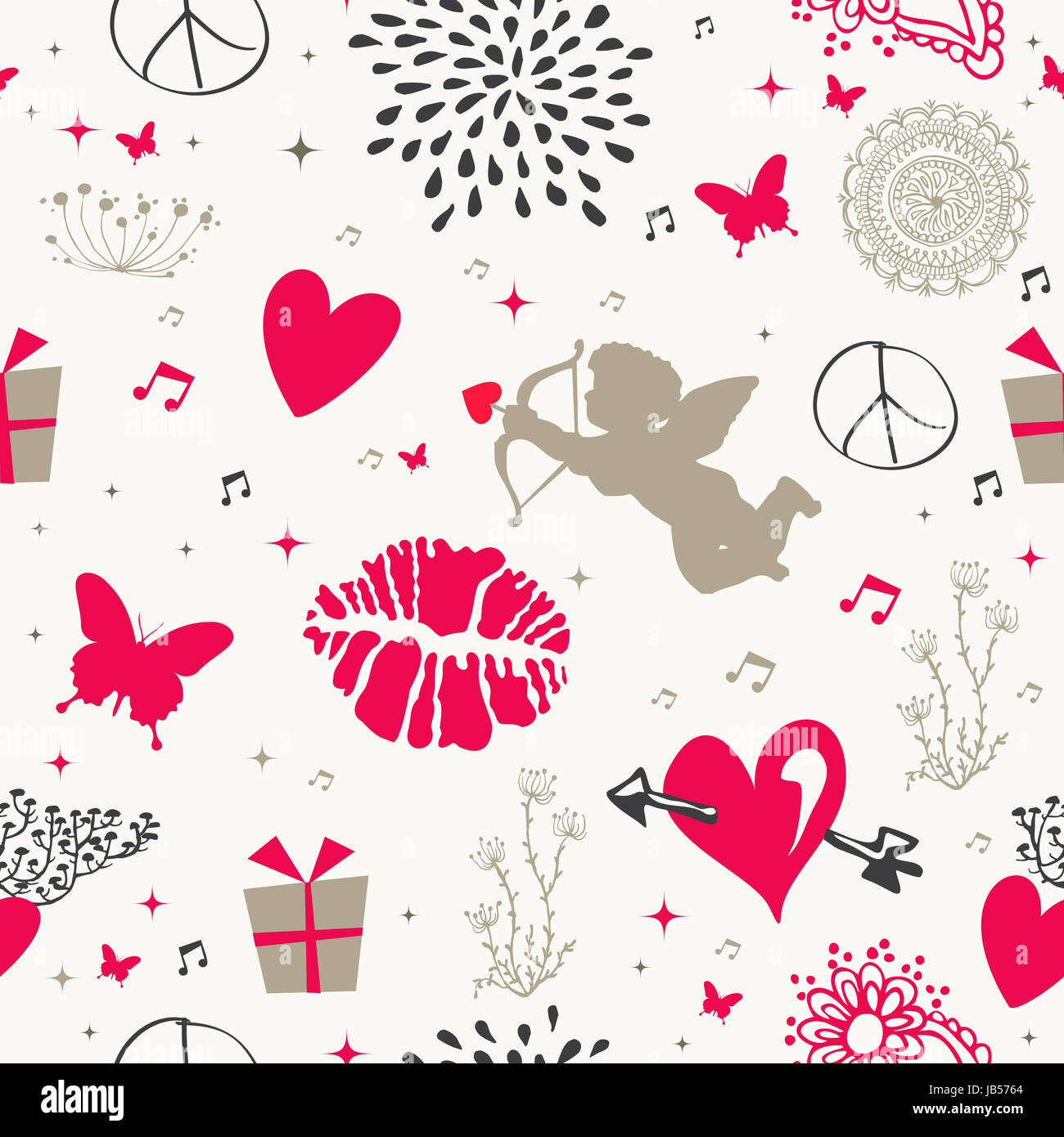 Retro Valentines Day Elements Seamless Pattern Background Eps10