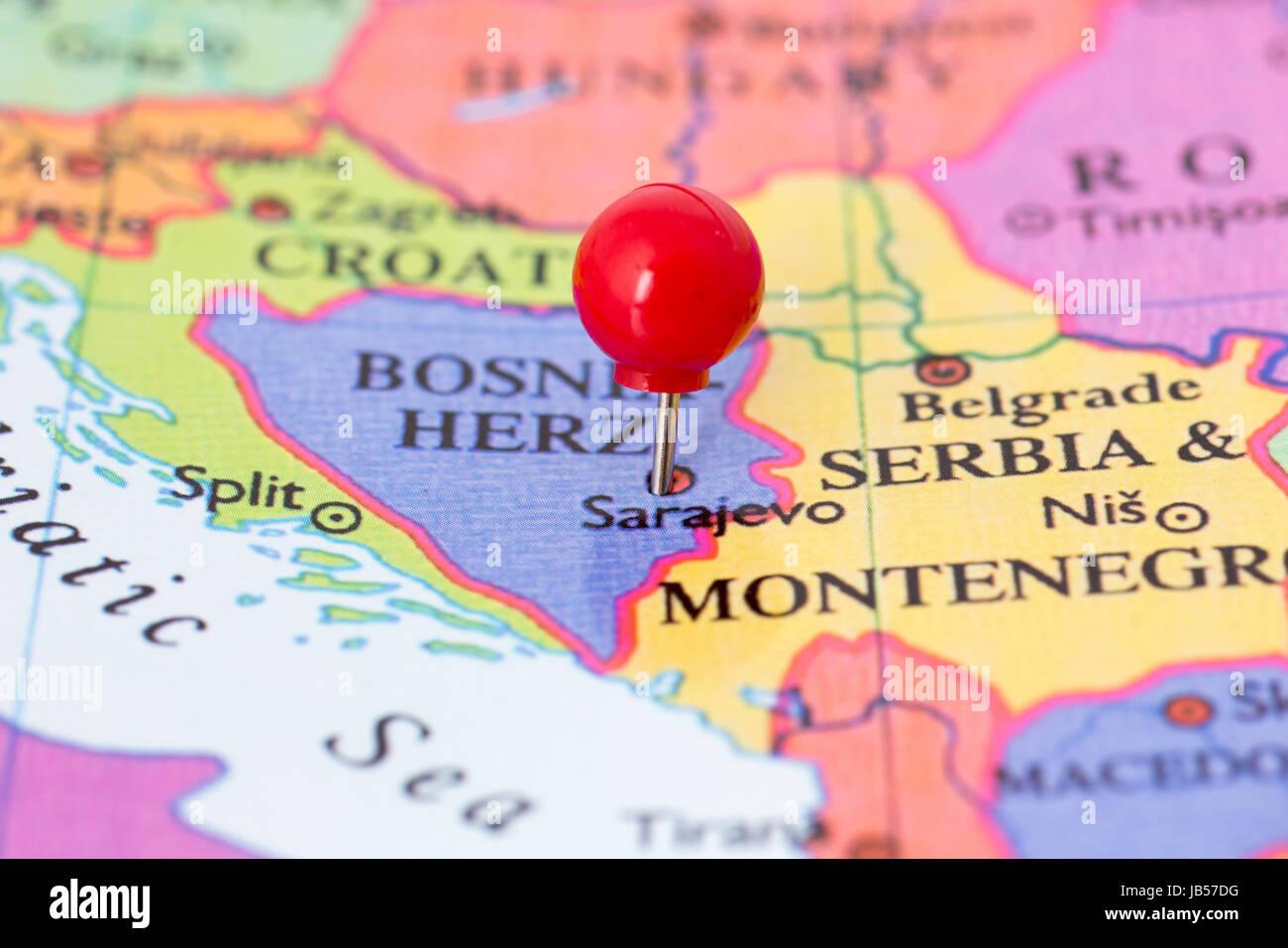 Bosnia Herzegovina Travel Map Push Stock Photos Bosnia