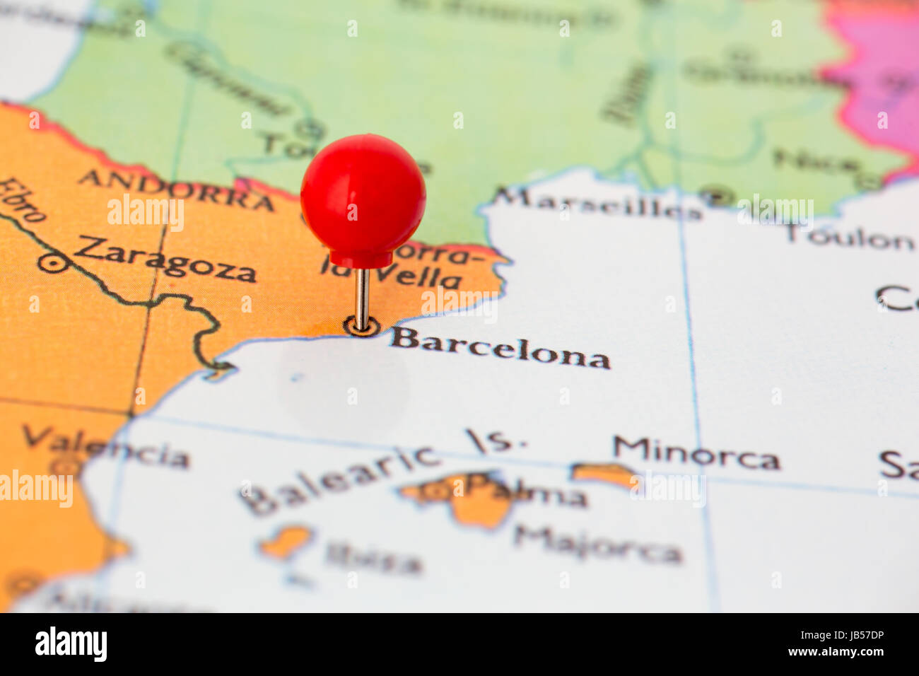 Round Red Thumb Tack Pinched Through City Of Barcelona On Spain Map Stock Photo Alamy