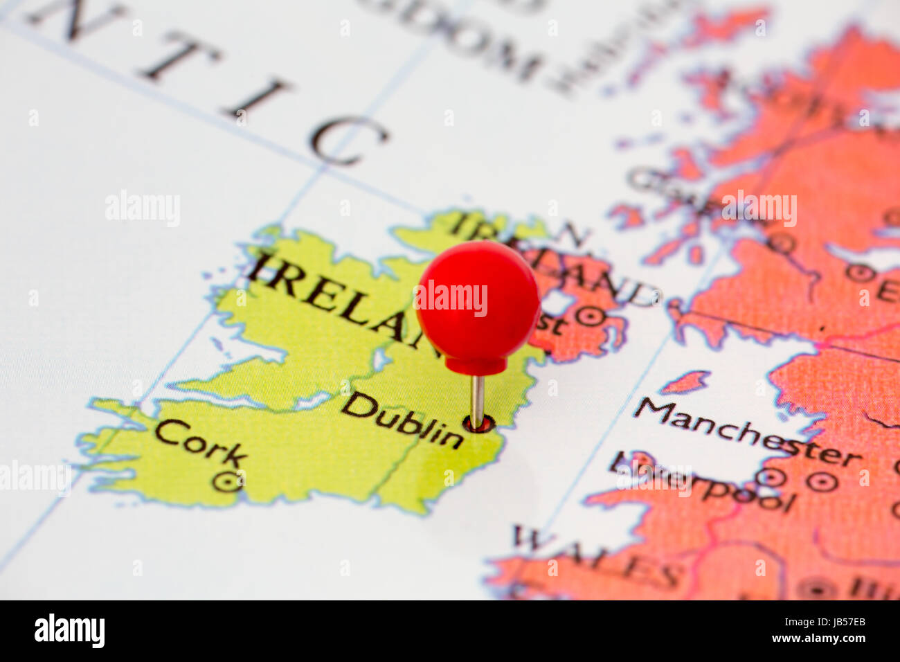 Map Of Ireland With Major Cities.Round Red Thumb Tack Pinched Through City Of Dublin On Ireland Map