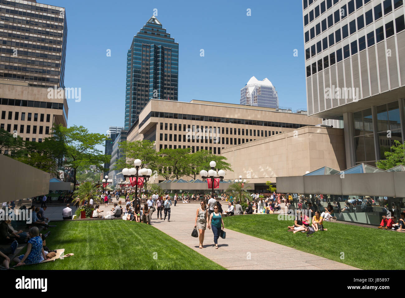 Montreal, CANADA - 8 June 2017: Place Ville Marie esplanade and 1501 McGill College skyscraper Stock Photo