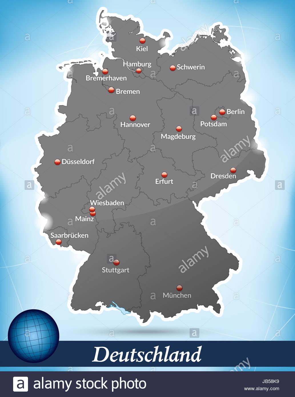 Deutschland Europa Als Inselkarte Das Dagestellte Gebiet Ist