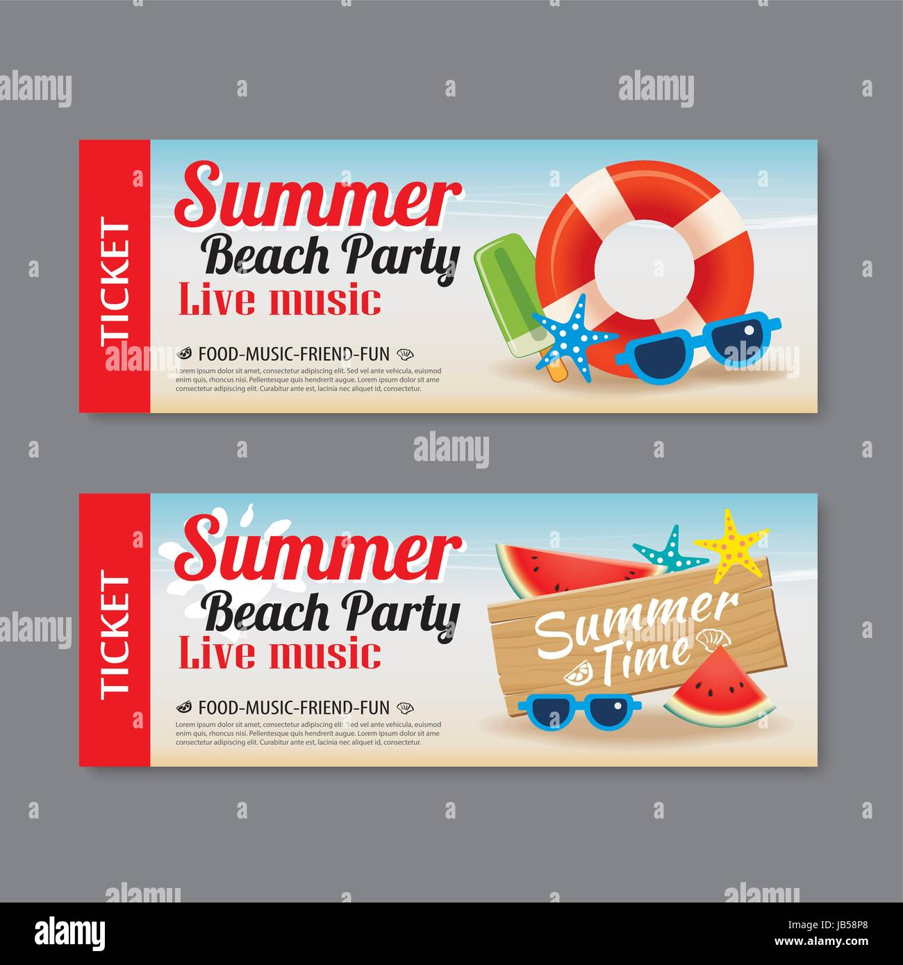 summer beach party invitation ticket template background stock