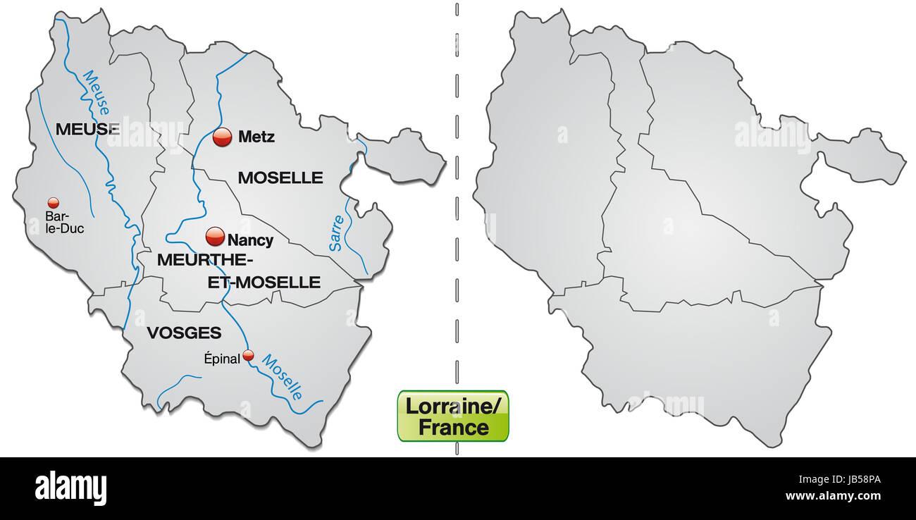 Lothringen Karte.Lothringen In Frankreich Als Inselkarte Mit Grenzen In Grau