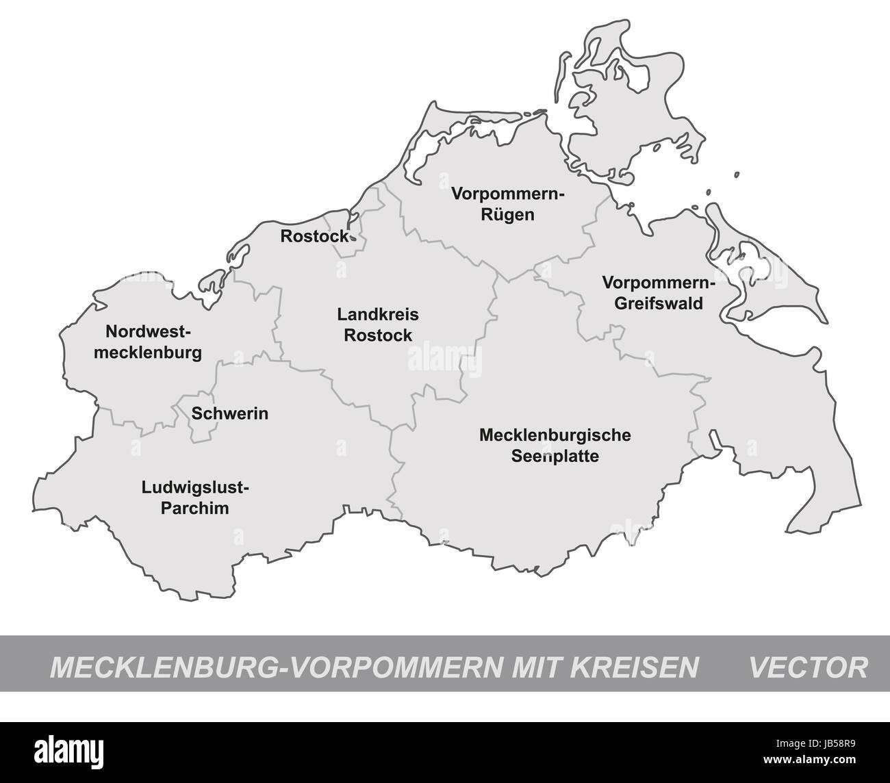 Mecklenburg-Vorpommern in Deutschland als Inselkarte mit Grenzen in Grau. Durch die ansprechende Gestaltung fügt - Stock Image